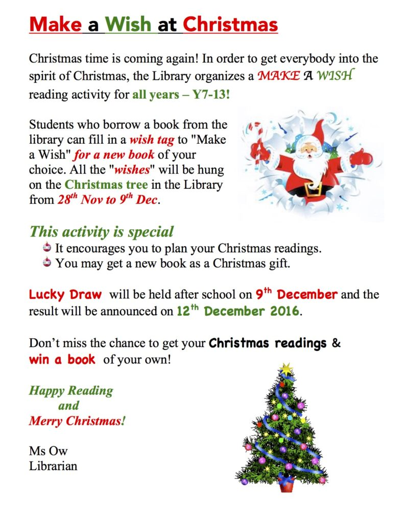 Christmas Readings.Make A Wish At Christmas South Island School Esf